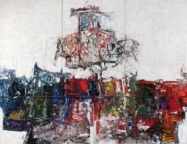 Jean Paul Riopelle (1923-2002), Point de rencontre – Quintette (polyptyque), 1963, huile sur toile, 428 x 564 cm (5 panneaux). Paris, Centre national des arts plastiques. © Succession Jean Paul Riopelle / SOCAN (2020). Photo MBAM, Jean-François Brière