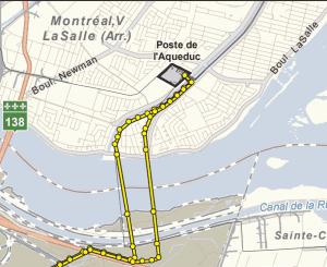 Carte de la ligne Beauharnois-Aqueduc d'Hydro-Québec