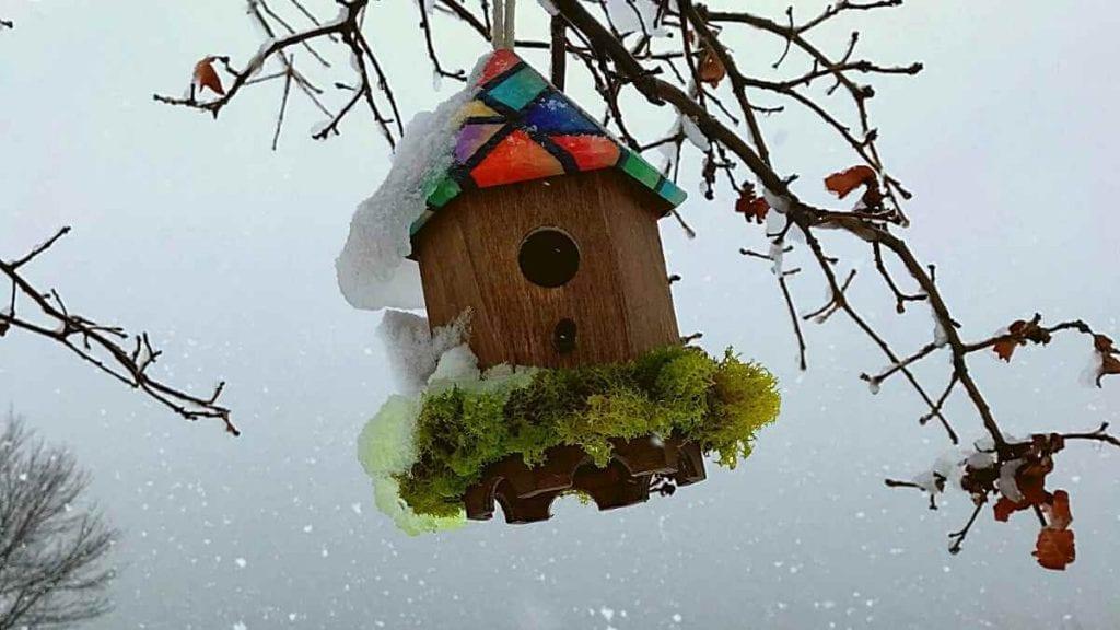 Maison à oiseaux par les Artistes Anonymes du Bronx - entourée de verdure