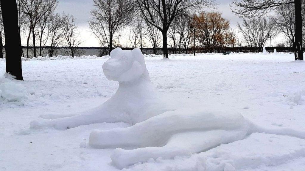 Lion de neige à Verdun