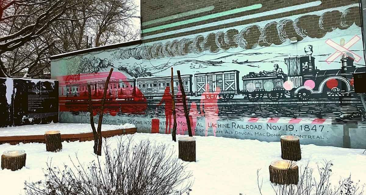 Station hivernale de Lachine Aux souches et murale