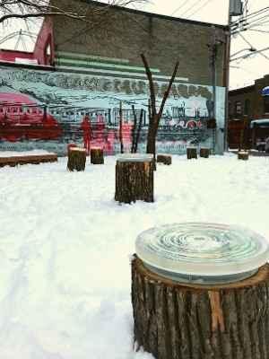 Station hivernale de Lachine Aux souches de près