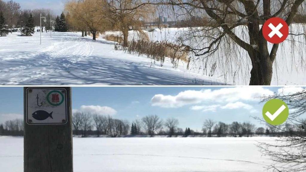 Petit bassin (jamais de pêche sur glace) et grand bassin (pêche selon les conditions) du parc des Rapides