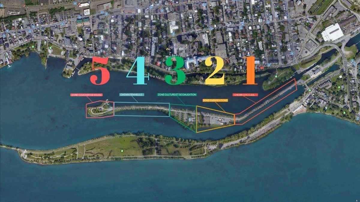 Les 5 zones des installations estivales du parc de Lachine