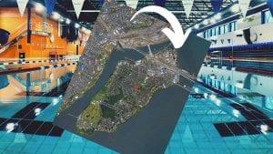 carte d'IDS sur fond de centre aquatique