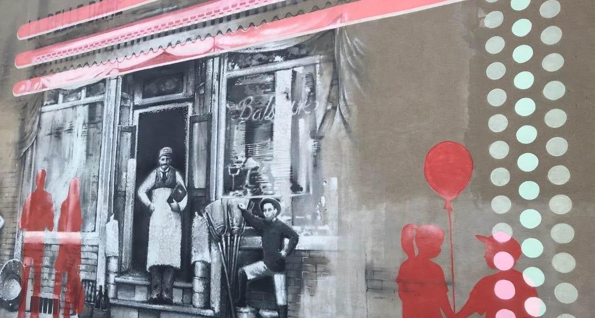 Murale de la rue Notre Dame à Lachine : La Belle Dame
