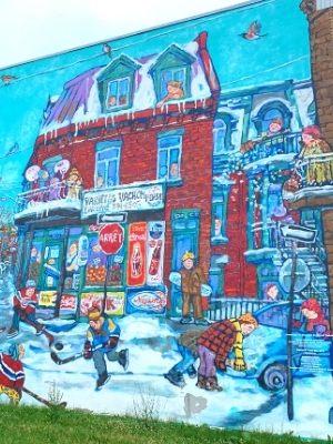 Le Montréal de Miyuki Tanobe (2012, Annie Hamel et Miyuki Tanobe) - Murale au coin de LaSalle et Lafleur à Verdun