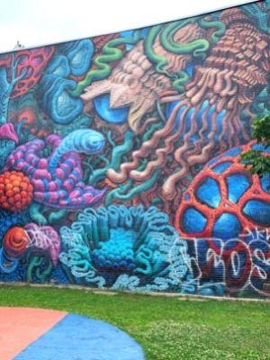 Sans titre (2017, Jason Botkin) - Murale au parc Joannette (Gertrude) à Verdun