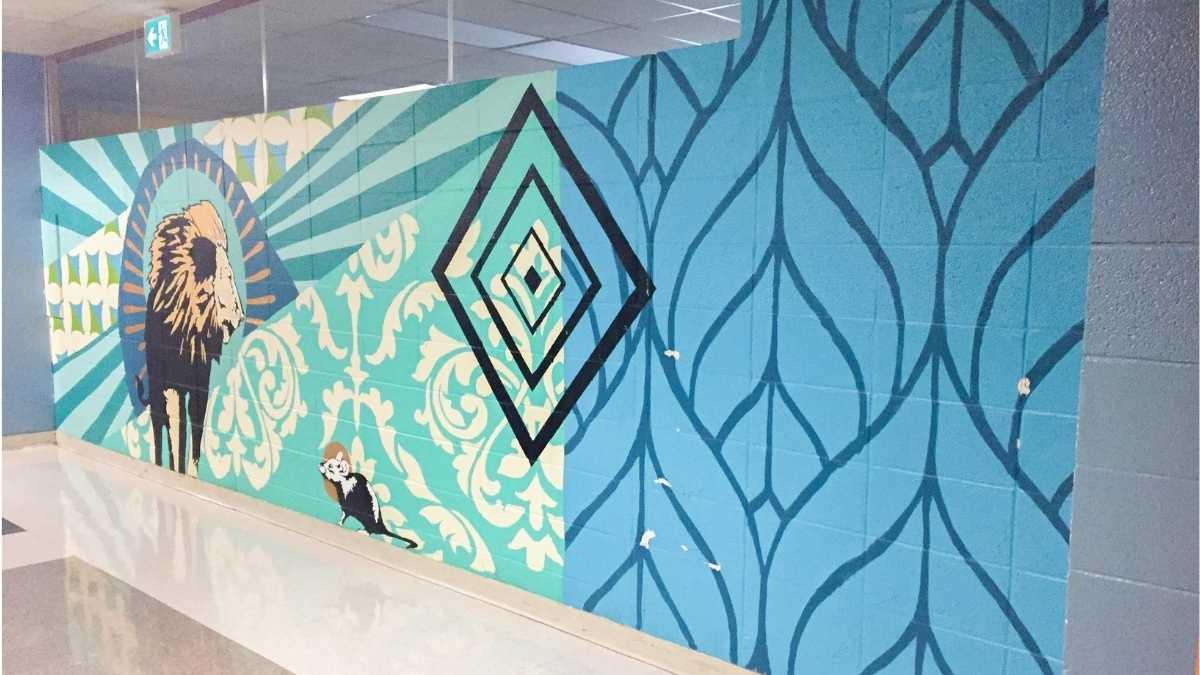 Murale à l'intérieur de l'école secondaire Cavelier-De LaSalle à LaSalle